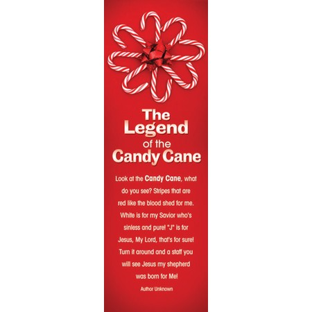 Legend of the candy cane poem bookmark