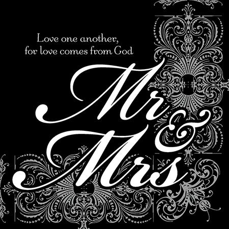 Religious Mr. Mrs. wedding napkins