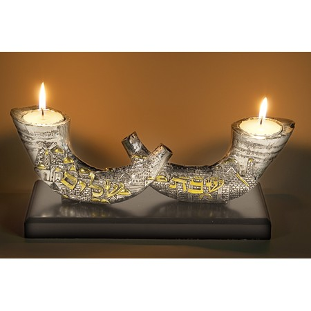 shofar with City of Jerusalem Candle holders